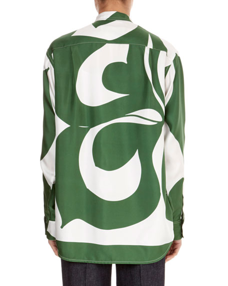 Granddad Button-Down Long-Sleeve Striped Silk Shirt