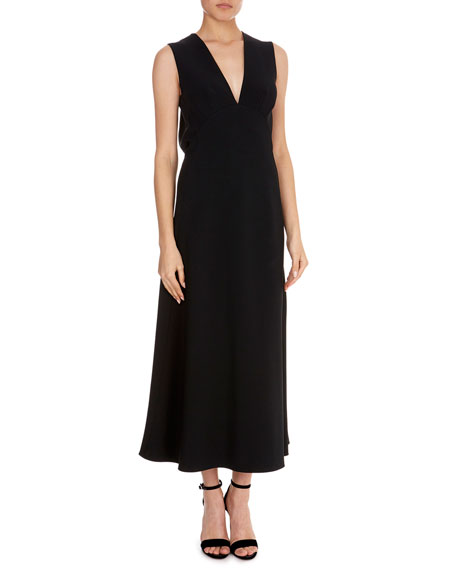 V-Neck Midi Back-Slit Dress