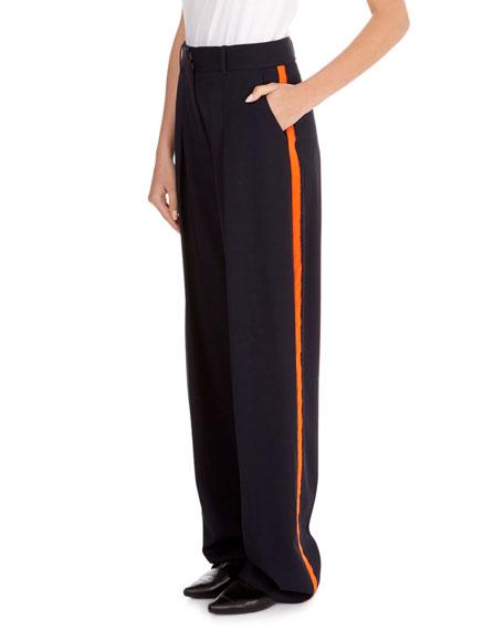 Flat-Front Wide-Leg Wool Pants with Tux Stripe