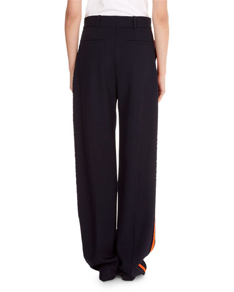 Flat-Front Wide-Leg Wool Pants with Tux Stripe