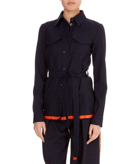 Button-Front Patch-Pocket Belted Wool Jacket w/ Contrast Hem
