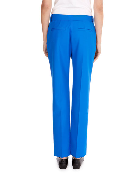 Flat-Front Slim Straight-Leg Ankle-Length Wool Pants