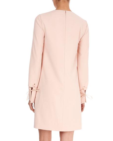 Jewel-Neck Bell-Sleeve Crepe Shift Dress