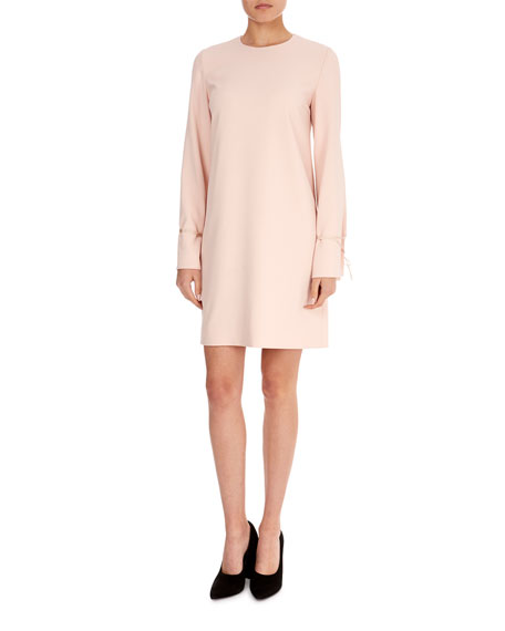 Jewel-Neck Bell-Sleeve Crepe Shift Dress