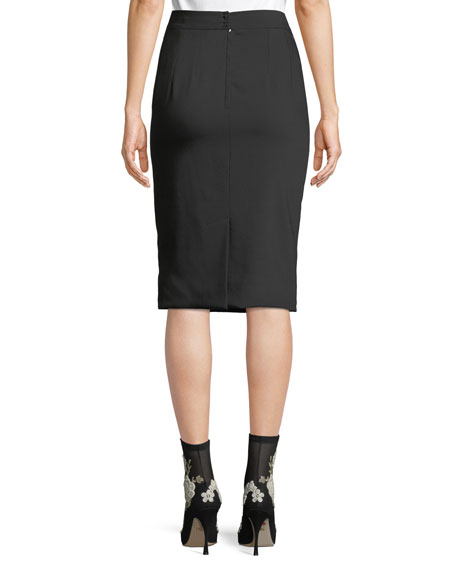 Classic Suiting Knee-Length Pencil Skirt