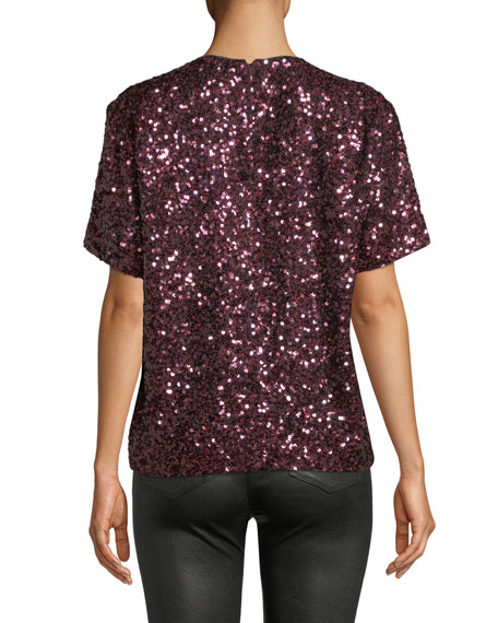 Short-Sleeve Jewel-Neck Sequin T-Shirt