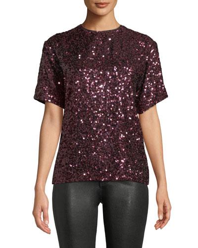Short-Sleeve Jewel-Neck Sequin T-Shirt