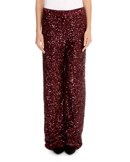 Wide-Leg Sequin Pants