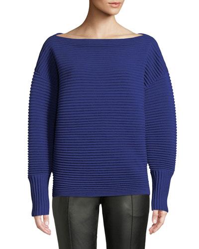 Boat-Neck Full-Sleeve Horizontal Ribbed Wool Sweater