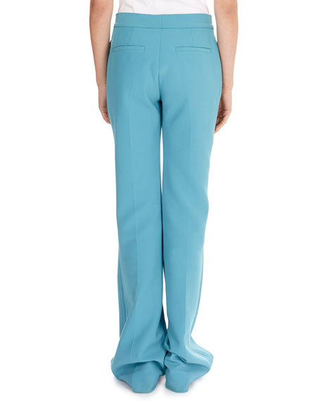 Flat-Front Straight-Leg Stretch-Wool Pants w/ Flared Hem