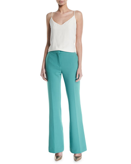 Flat-Front Straight-Leg Stretch-Wool Pants w/ Flared Hem