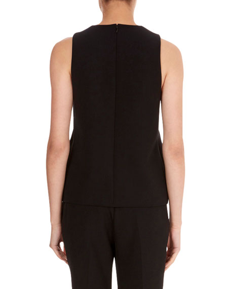Round-Neck Sleeveless A-Line Wool Crepe Top