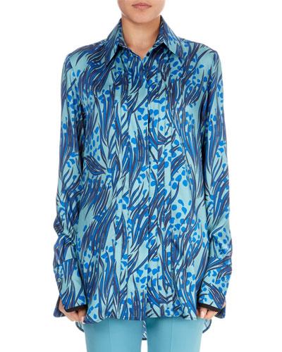 Palm & Dots Print Button-Front Long-Sleeve Shirt