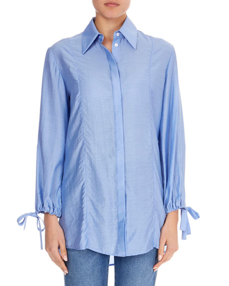 Button-Front Drawstring-Sleeve Shirt