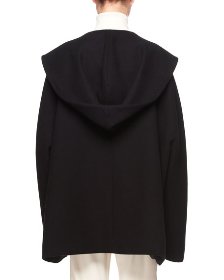 Ernstly Hooded Button-Front Cotton-Wool Jacket