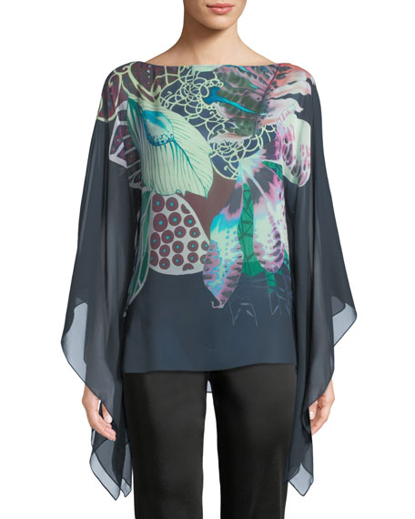 Fluid-Sleeve Exotic Floral-Print Silk Georgette Caftan Blouse
