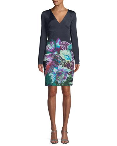 V-Neck Long-Sleeve Exotic Floral-Print Jersey Dress