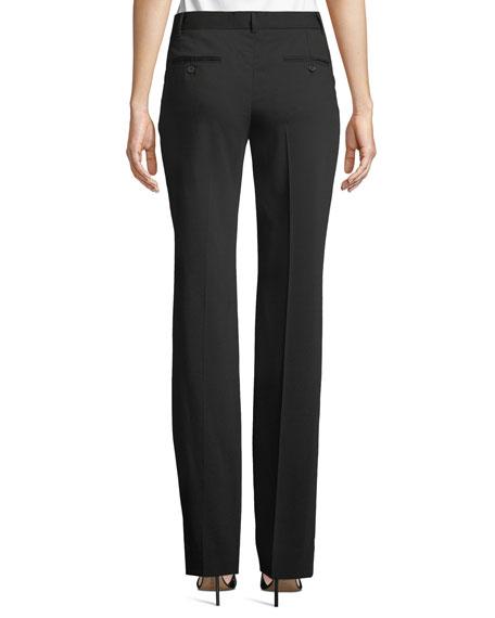 Kate Mid-Rise Straight-Leg Wool Pants