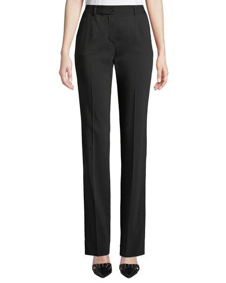 Dolce & Gabbana Kate Mid-Rise Straight-Leg Wool Pants