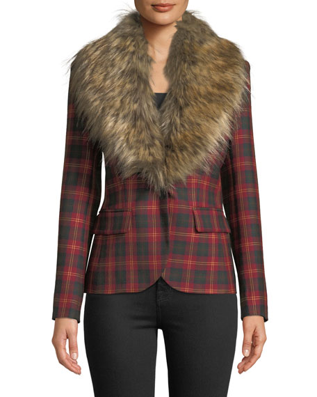 Redemption Detachable Faux-Fur Collar One-Button Tartan Wool