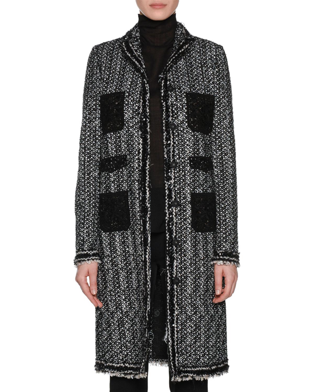 Notched Collar Valli Lace Front Button Jacket w Giambattista Tweed XiuPkZO