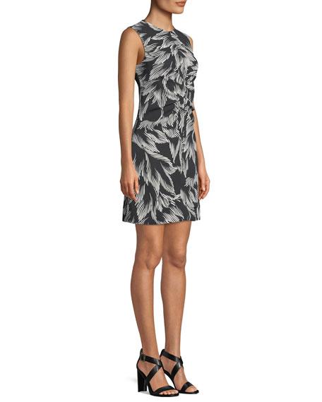Sleeveless Round-Neck Ruched-Center A-Line Palm-Print Dress