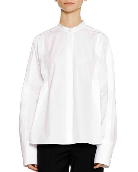 Long-Sleeve Button-Down Cotton Shirt with Pleat Detail