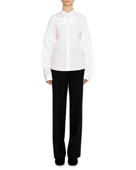 Band-Collar Long-Sleeve Cotton Shirt with Ruffle Detail