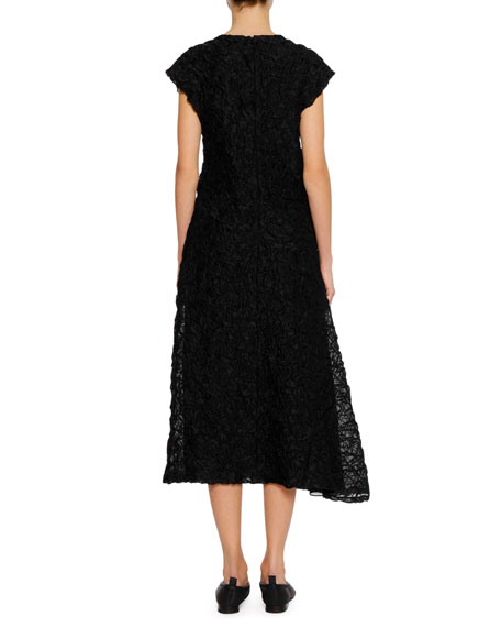 Cap-Sleeve Crushed-Stitched Texture A-Line Midi Cocktail Dress