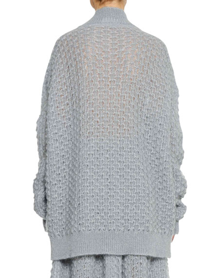 Turtleneck Long-Sleeve Open-Weave Oversized Mohair-Silk Sweater