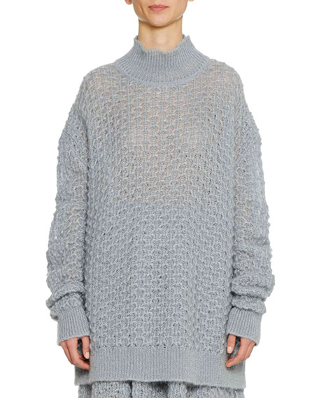 Turtleneck Long Sleeve Open Weave Oversized Mohair Silk Sweater by Jil Sander