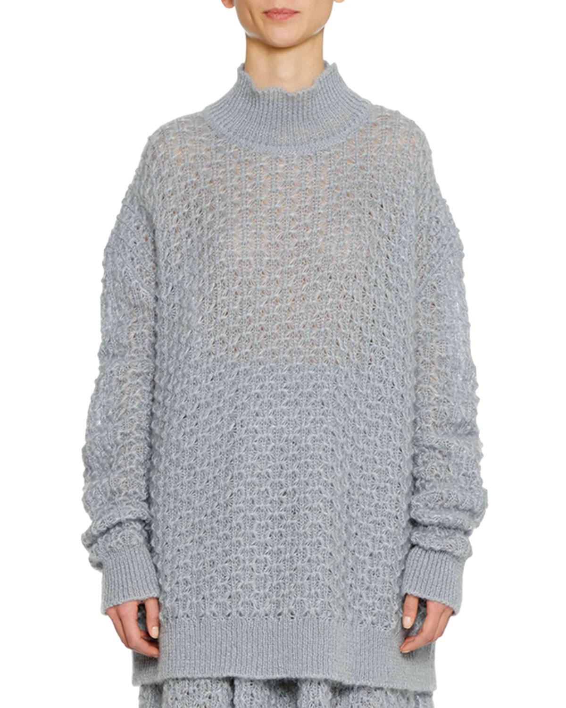 Long Weave Open Sander Turtleneck Oversized Silk Mohair Sleeve Jil Swq4Fvf