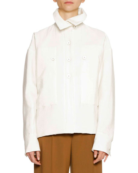 Button-Front Long-Sleeve Shirt Jacket with Oversized Patch Pockets