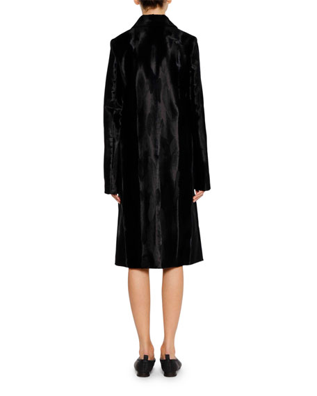 Single-Breasted Button-Front Textured Velvet Midi Coat