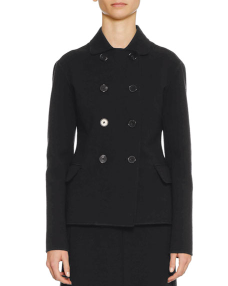 Double-Breasted Fitted Short Wool-Blend Pea Coat