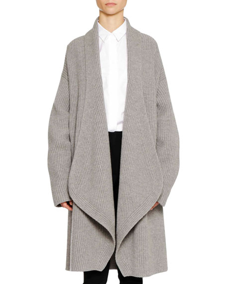 Open Front Long Sleeve Wool Cashmere Cardigan W/ Martingale Back by Jil Sander