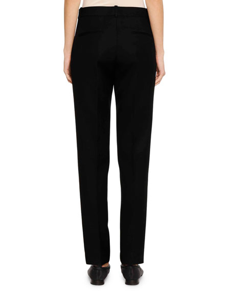 Flat-Fly Front Straight-Leg Virgin Wool Pants