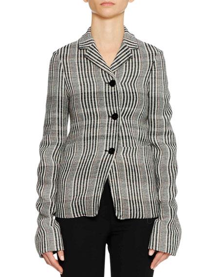 Three-Button Plaid Check Shrunken Blazer w/ Oversized Patch Pockets