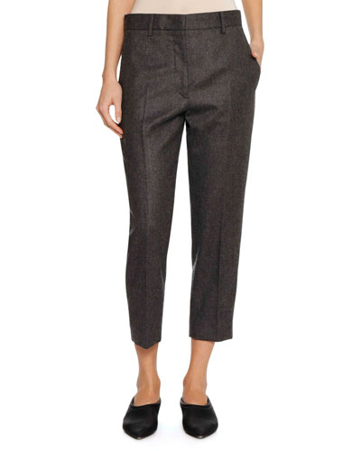 Tapered-Leg Cropped Wool Pants