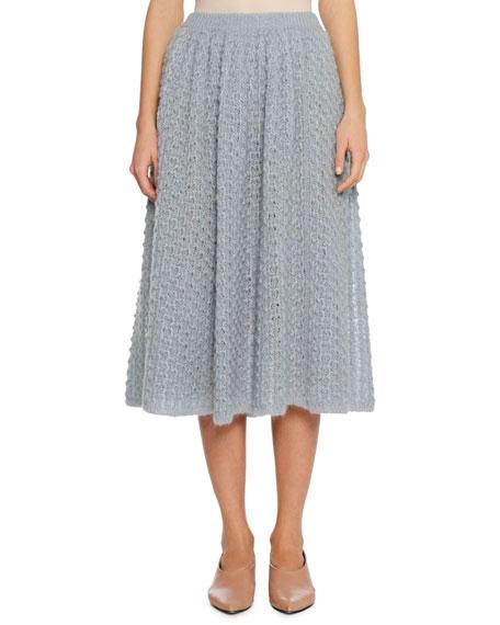 Full A-Line Open-Weave Mohair-Silk Midi Skirt