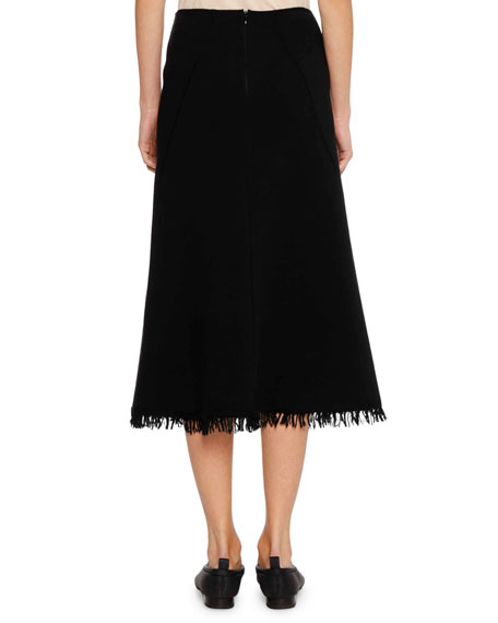 A-Line Calf-Length Wool-Blend Midi Skirt with Fringe Hem