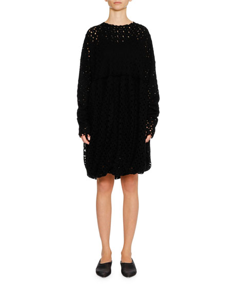 Round-Neck Long-Sleeve Lace Shift Dress