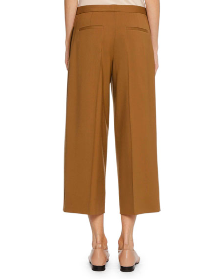 Full-Leg Virgin Wool Cropped Culotte Pants