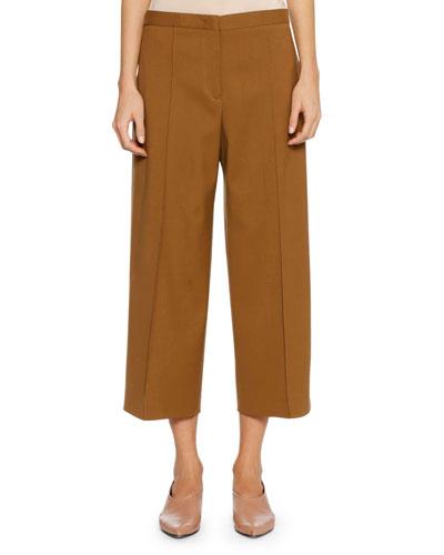 Full-Leg Virgin Wool Cropped Culotte Pants