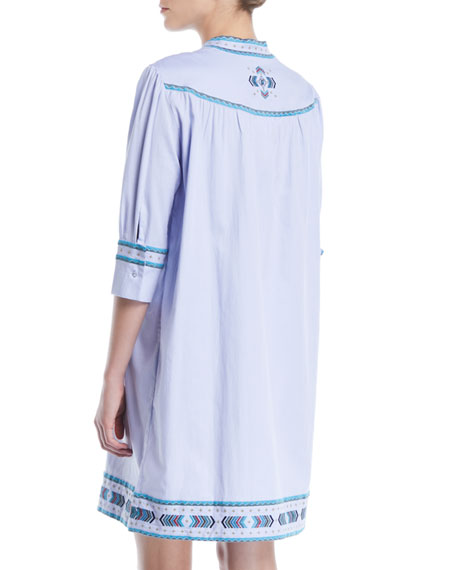 Willow Embroidered Egyptian Cotton Elbow-Sleeve Tunic Dress