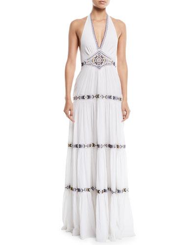 Dakota V-Neck Halter Tiered Embroidered Long Cotton Dress
