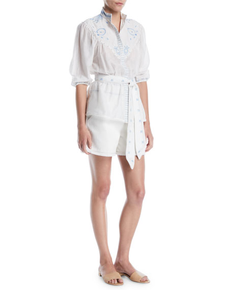 Embroidered Cotton Tailored Shorts w/ Frayed Hem