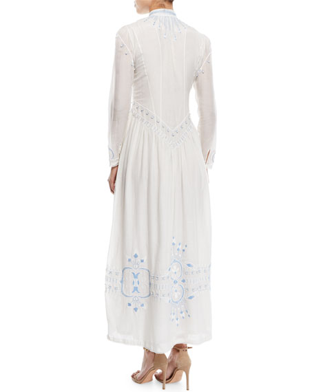 Button-Front Embroidered Summer Robe Long Cotton Dress