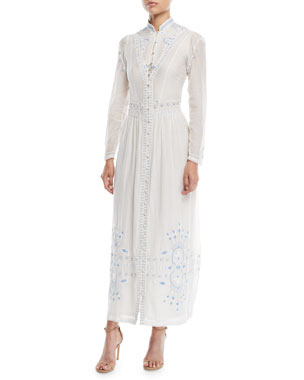 d6f6db6d0a Talitha Collection Button-Front Embroidered Summer Robe Long Cotton Dress