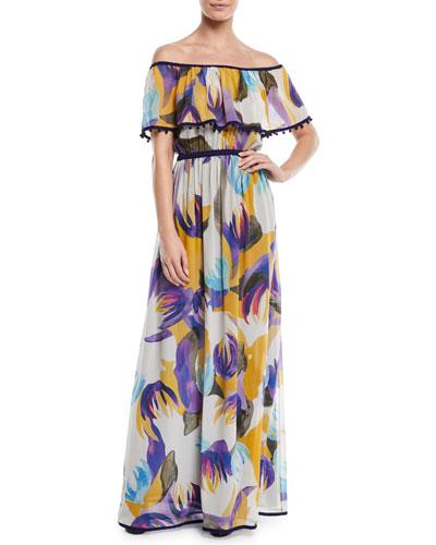 Mika-Print Off-the-Shoulder Silk Maxi Dress